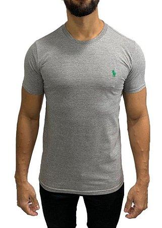 Camiseta Ralph Lauren Básica Cinza com Bordado Verde