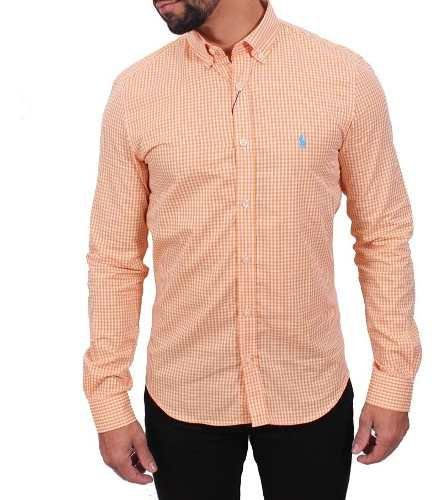 Camisa Ralph Lauren Micro-Xadrez Laranja