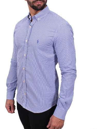Camisa Ralph Lauren Xadrez Azul Custom Fit