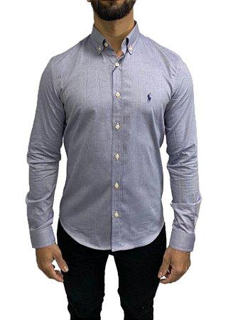 Camisa Ralph Lauren Azul com Bordado Azul