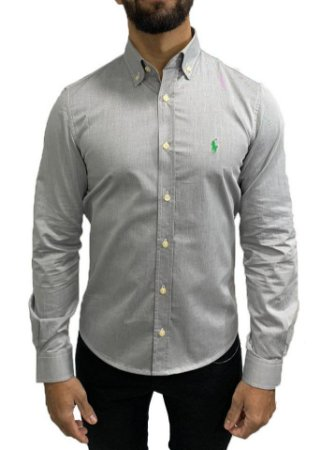 Camisa Social Ralph Lauren Cinza Oxford