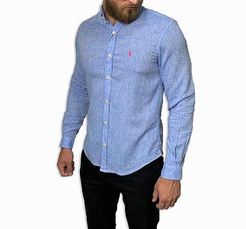 Camisa Ralph Lauren Linho Azul