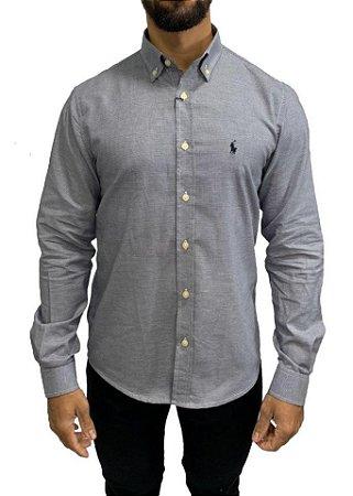 Camisa Ralph Lauren Cinza Listrada