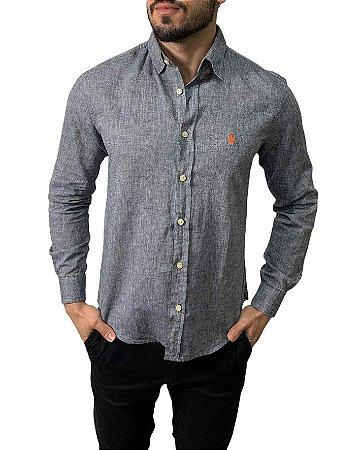 Camisa Ralph Lauren Linho Chumbo