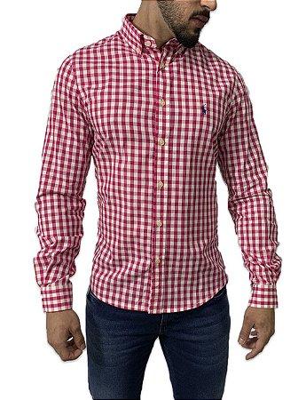 Camisa Ralph Lauren Xadrez Rosa/Branca