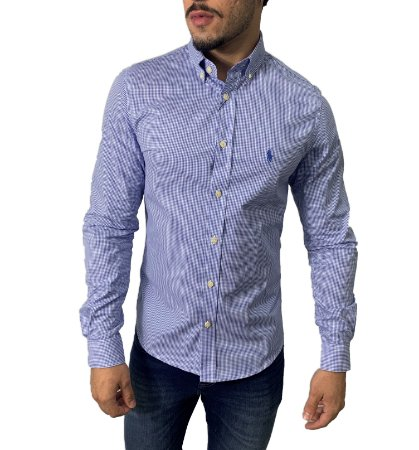 Camisa Ralph Lauren Micro-Xadrez Azul com Bordado Azul