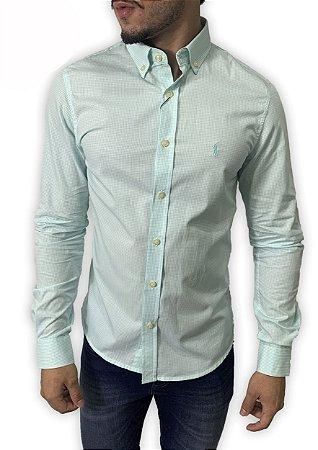 Camisa Ralph Lauren Micro- Xadrez Verde Água