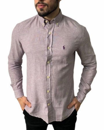 Camisa Ralph Lauren Linho Roxo Windsor