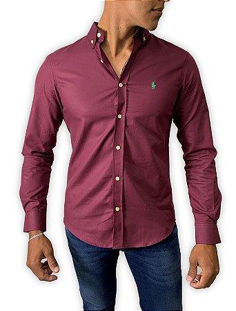 Camisa Ralph Lauren Oxford Bordô