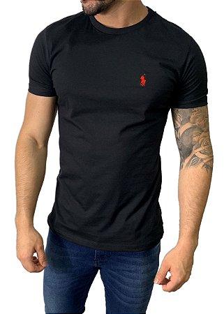 Camiseta Ralph Lauren Básica Preta com Bordado Vermelho