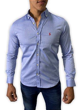 Camisa Ralph Lauren Azul com Bordado Vermelho