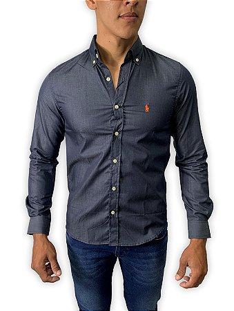 Camisa Ralph Lauren Chumbo Bordado Laranja