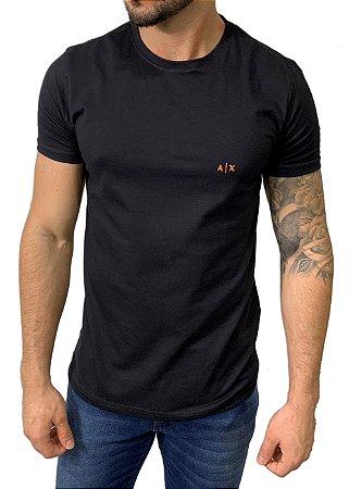 Camiseta Armani Exchange Preta com Bordado Neon Laranja