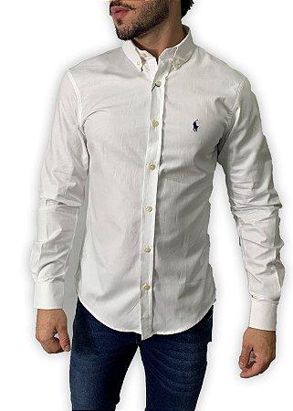 Camisa Ralph Lauren Branca com Bordado Azul
