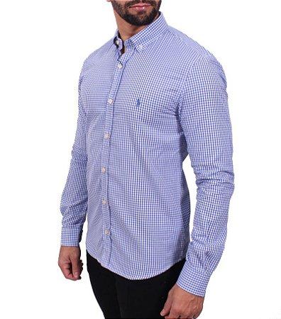 Camisa Ralph Lauren Micro-Xadrez Azul