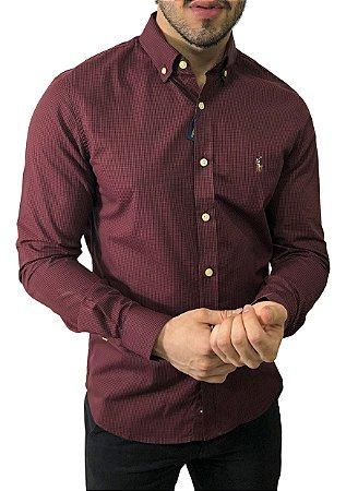 Camisa Ralph Lauren Micro-Xadrez Bordô