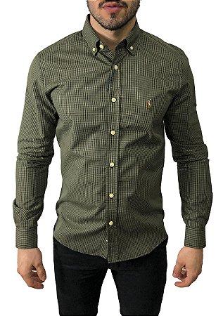 Camisa Ralph Lauren Micro-Xadrez Verde Musgo