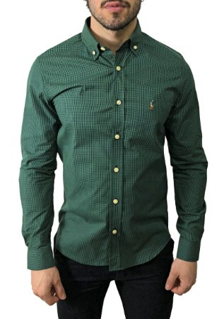 Camisa Ralph Lauren Micro-Xadrez Verde Militar