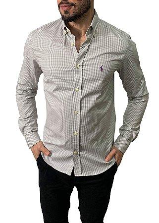 Camisa Ralph Lauren Micro-Xadrez Cinza Claro