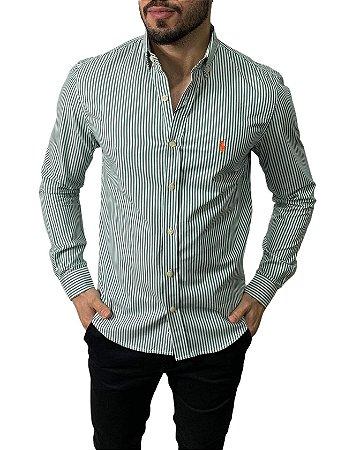 Camisa Ralph Lauren Listrada Verde Escuro
