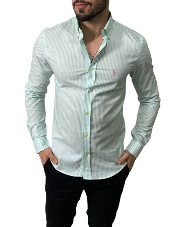 Camisa Ralph Lauren Listrada Verde Claro