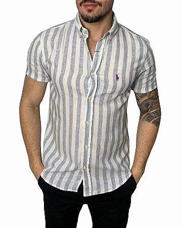 Camisa Ralph Lauren Linho Listrada Cinza Mescla