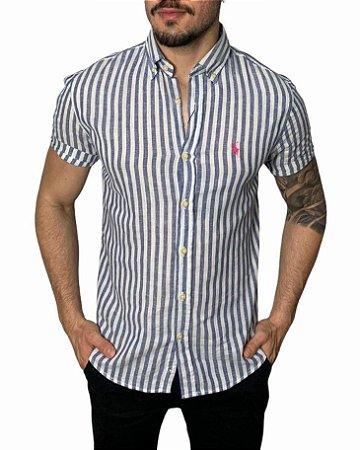Camisa Ralph Lauren Linho Listrada Azul / Branca
