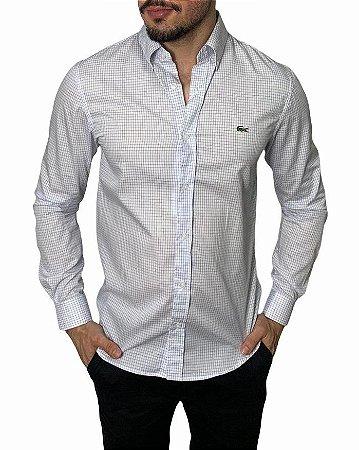 Camisa Lacoste Quadriculada Branca/Azul