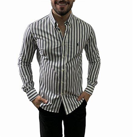 Camisa Ralph Lauren Listrada Chumbo