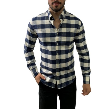 Camisa Ralph Lauren Xadrez Marinho / Off White