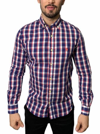 Camisa Ralph Lauren Xadrez Madras Azul