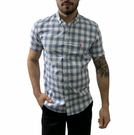 Camisa Ralph Lauren Xadrez Azul Chumbo