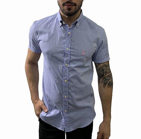 Camisa Ralph Lauren Linho Azul Burguês