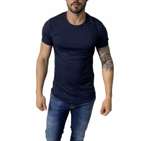 Camiseta Armani Exchange Escrita Azul Marinho