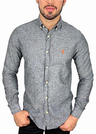 Camisa Ralph Lauren Linho Mescla Chumbo
