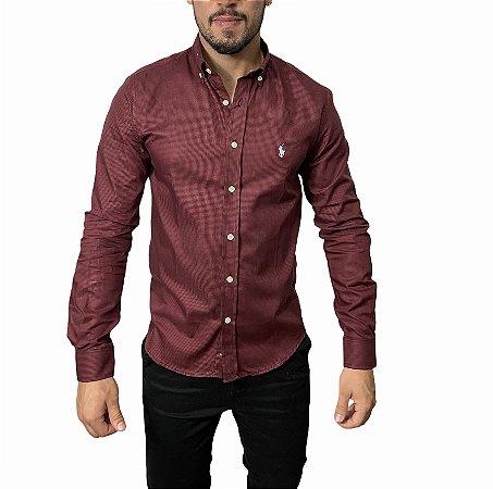 Camisa Ralph Lauren Quadriculada Bordô
