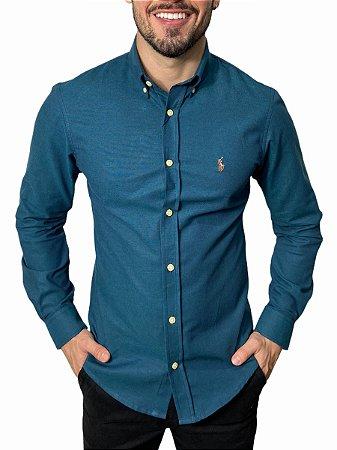 Camisa Ralph Lauren Oxford Azul Real