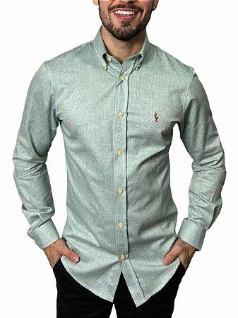 Camisa Ralph Lauren Oxford Verde Mescla