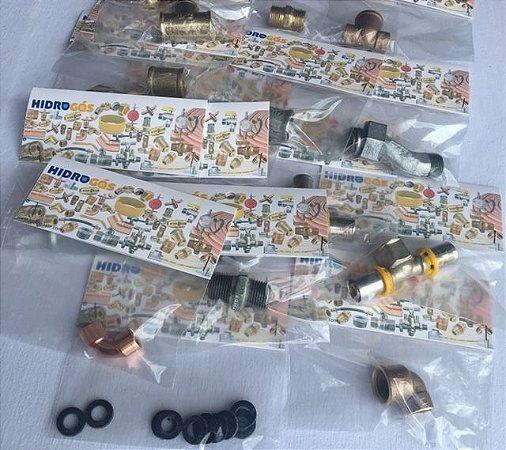 encartelados de peças para passagem de gás