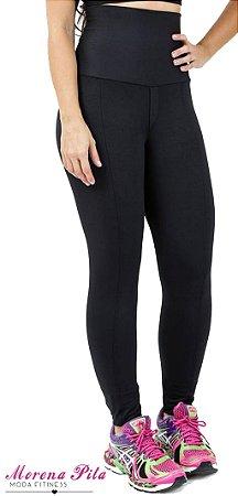 3d4abbbe3 Calça Legging Preta Cós Alto Suplex, 94 % Poliéster e 6% Elastano, Cintura