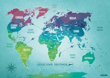 Mapa Mundi World Colors