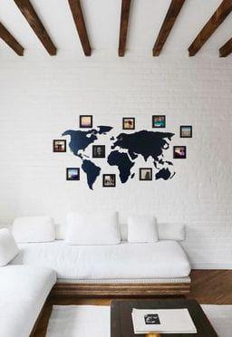 Mapa Mundi Parede - Polietileno+ 10 Molduras 10x10