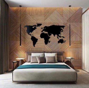 Mapa Mundi Parede MDF - GRANDE - 2x1m