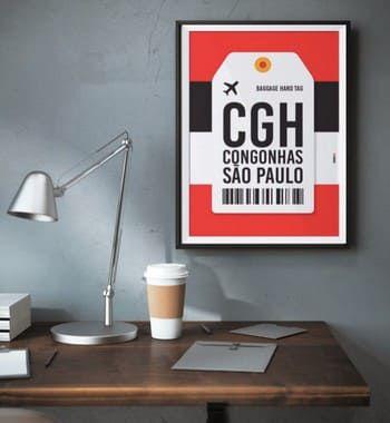 Poster Aeroporto CGH - Congonhas, São Paulo - Brasil