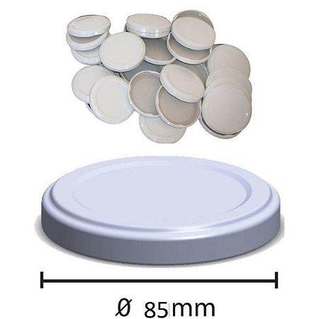 Tampa Branca Esmaltada Para Vidro De Conserva 85mm - C/ 100 un