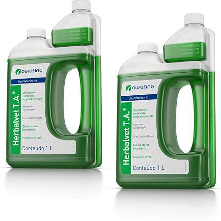 Desinfetante  Herbal Vet TA  Ouro Fino 1 Litro - Kit 2 Un