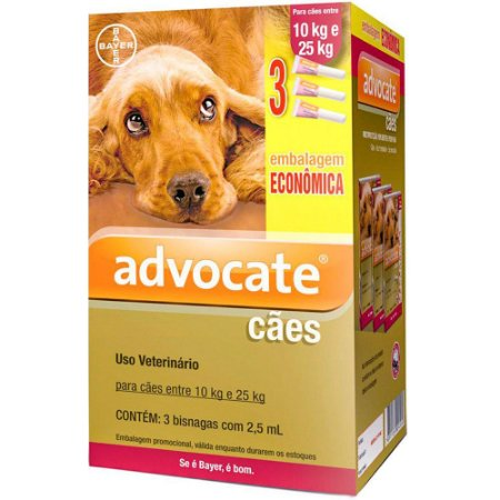 Antipulgas Bayer Advocate Cães 2,5 ml 10 a 25kg Combo Leve 3 Pague 2