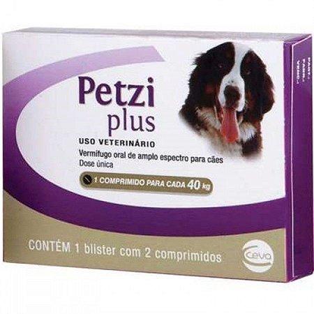 Vermífugo Para Cães Petzi Plus 40Kg - 2 Comprimidos