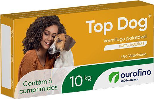 Vermífugo Para Cães Top Dog Ouro Fino 10 kg - Caixa 4 Comprimidos