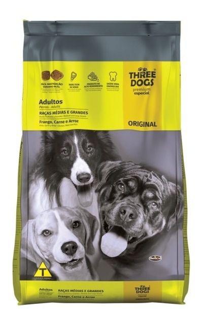 Ração Three Dogs Original Frango, Carne e Arroz Para Cães Adultos - 15kg